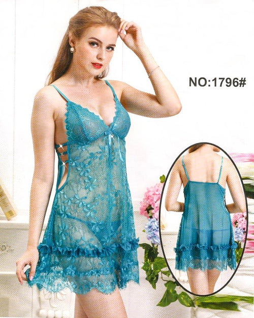 Bridal Sexy Transparent Short Nighty - 1796