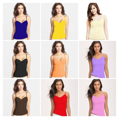 Pack of 3 Camisole for Girls - Fancy Colourful Tank Top - Mix Colours - Camisole - diKHAWA Online Shopping in Pakistan