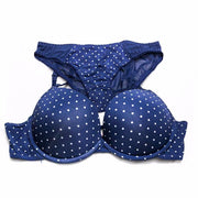 Victoria's Secret - Blue Polka Dots Double Padded Bra And Panty Set - Bra Panty Sets - diKHAWA Online Shopping in Pakistan