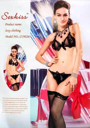Black Net Sexy Lingerie Set - Lingerie - diKHAWA Online Shopping in Pakistan