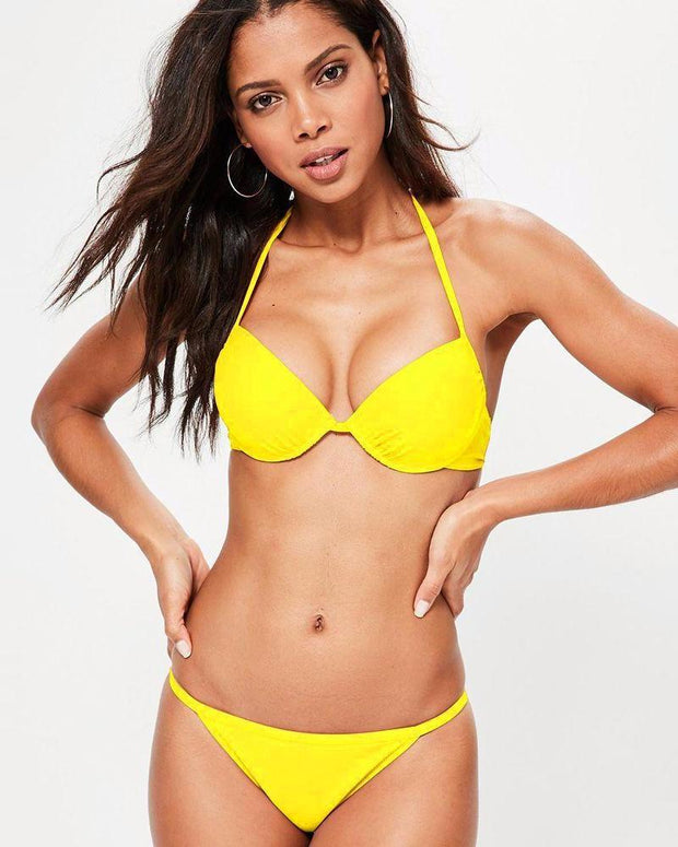 Yellow Single Padded Bikini Style Bra & Panty Set - Bra Panty Sets - diKHAWA Online Shopping in Pakistan