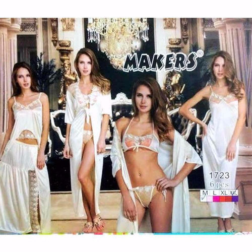 White Nighty Set - 6 Pcs - Nighty Sets - diKHAWA Online Shopping in Pakistan