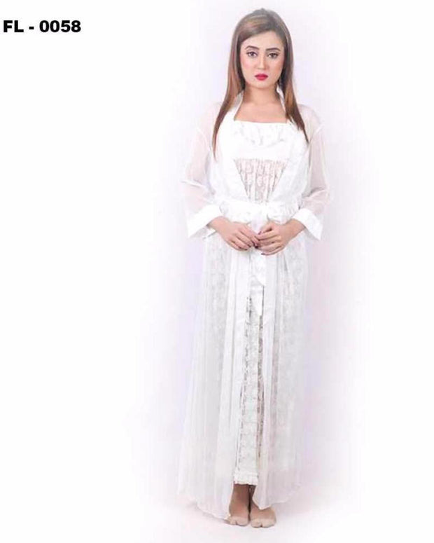 White 2Pc Net Nighty Flourish  - FL-0058 - Nighty Sets - diKHAWA Online Shopping in Pakistan