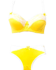 Yellow With White Net Underwired Double Padded Bra Panty Set