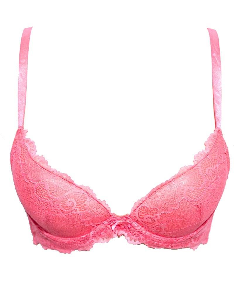 Daifuren 515 Pink Embroidered Design - Single Padded,Under Wired Bra
