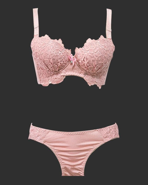 Designer Pushup Bra Panty Set Pink For Bridals - Doubble Padded Underwired - Fancy Bra Panty Set