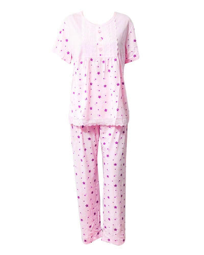 Baby Pink Star Printed 2 Pcs Nightdress For Girls TB-74.3 - Women Nightdress