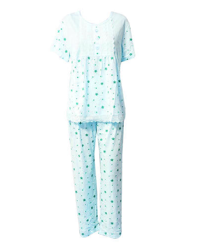 Firozi Star Printed 2 Pcs Nightdress For Girls TB-74.3 - Women Nightdress