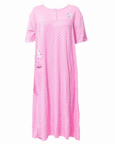 Printed Baby Pink Long Nighty With Front Buttons 902 - Women Nightdress