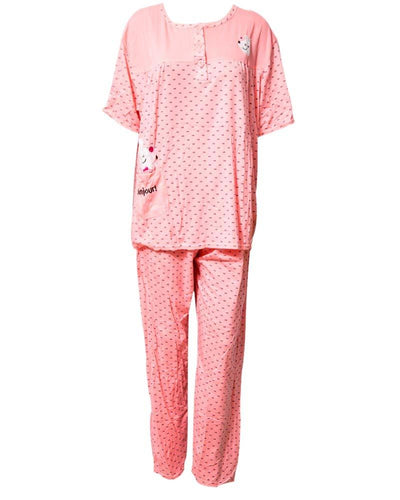 Peach Dotted Printed Nightwear Suit 2Pc 702 - Women Nightdress