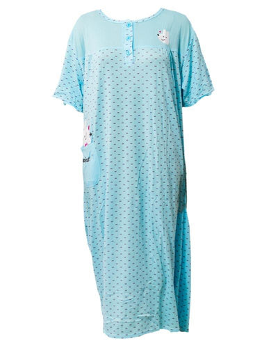 Printed Firozi Long Nighty With Front Buttons 902 - Women Nightdress
