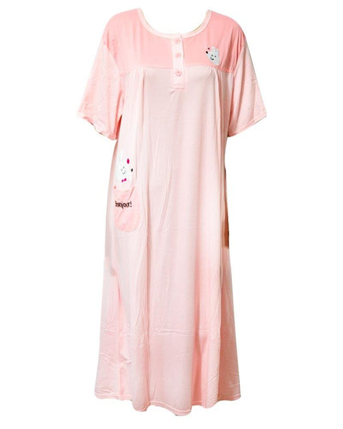 Stylish Peach Long Nighty With Front Buttons 901 -  Women Nightdress