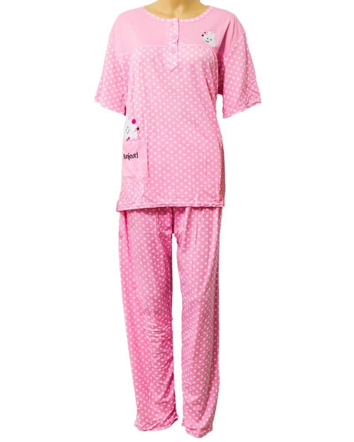 Baby 2 Pcs Pink Nightdress For Girls White Dotted & Front Button 703 - Women Nightdress