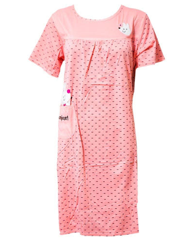Stylish Pink Long Nighty Dotted & Side Pocket 102 -  Women Nightdress
