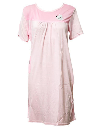 Baby Pink Long Nighty Plained & Side Pocket  101 -  Women Nightdress