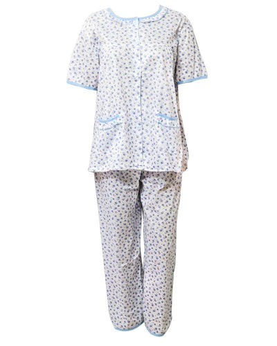 White Printed 2 Pcs Pocket Nightdress For Girls Front Open - Women Nightdress
