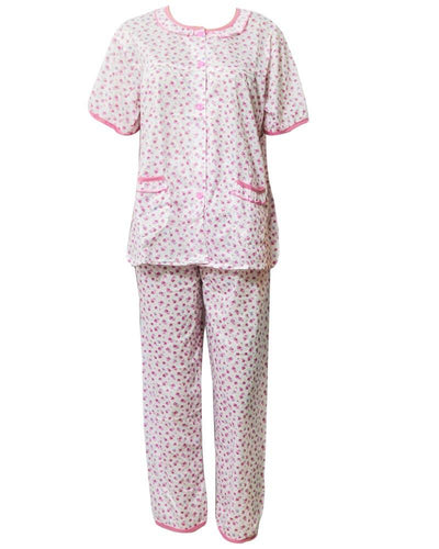 White & Pink Printed 2 Pcs Pocket Nightdress For Girls Front Open - Women Nightdress