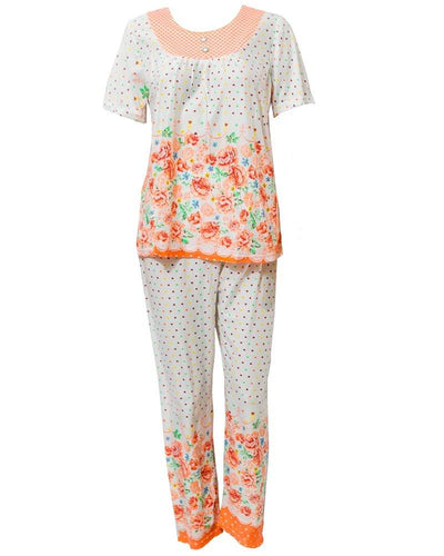Fancy Orange Flower Printed 2 Pcs Nightdress 25.3 For Women