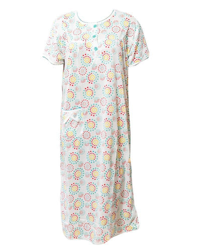 White Long Nighty Printed & Side Pocket Yellow Shade 4014 -  Women Nightdress