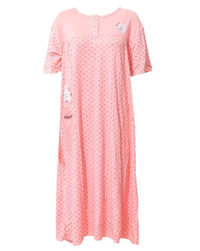 Orange Long Nighty Dotted & Side Pocket Front Button 902 - Women Nightdress