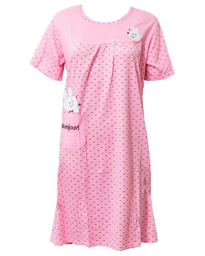 Pink Long Nighty Dotted & Side Pocket 102 -  Women Nightdress