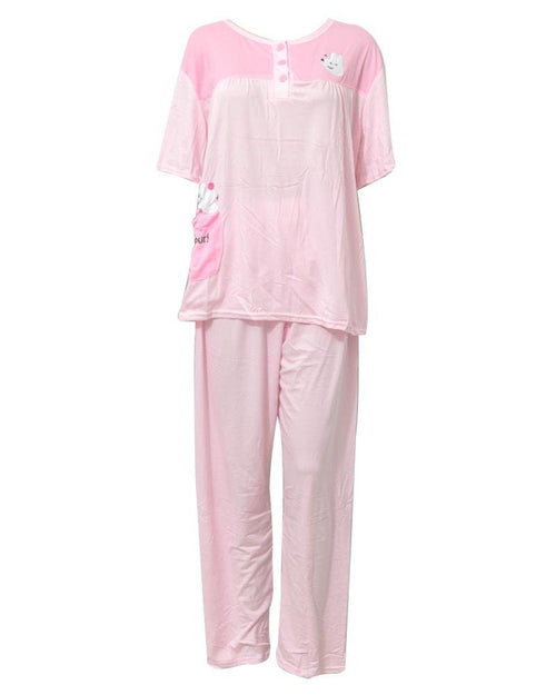 Baby Pink 2 Pcs Nightdress For Girls Plained & Front Button 701 - Women Nightdress
