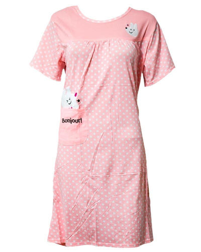 Pink Long Nighty White Dotted & Side Pocket 103 -  Women Nightdress