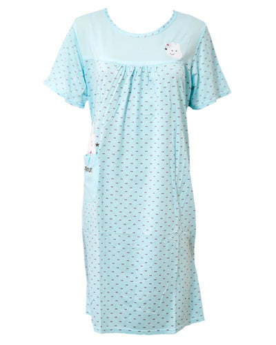 Firozi Long Nighty Dotted & Side Pocket 102 -  Women Nightdress