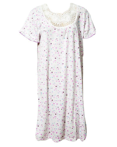 Stylish White Long Nighty With Multi Dotted 111.3 -  Women Nightdress