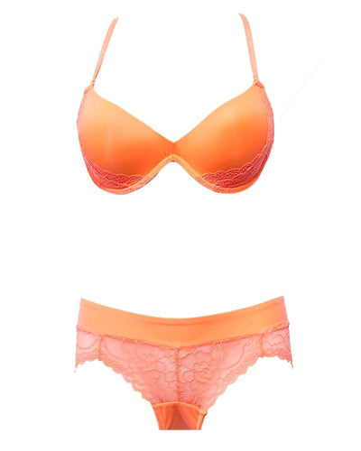Victoria's Secret - Orange Lace Single Padded Pushup Bra And Panty Set