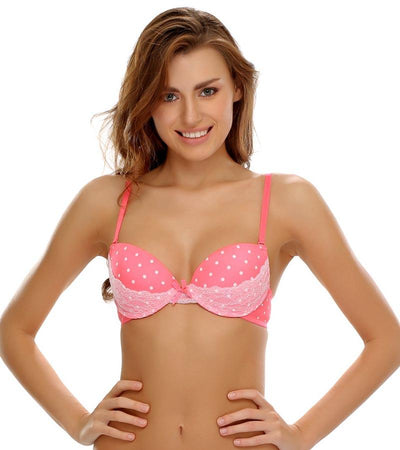 f96a1b7883 Victoria s Secret - Red Polka Dotted Single Padded Pushup Bra And Panty Set