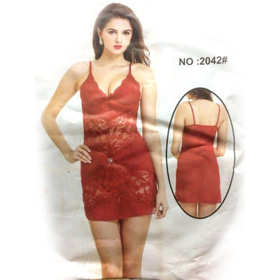 Red Sexy Short Style Nighty – MN – 2042 - Nighty - NIGHTYnight Online Lingerie Store in Pakistan