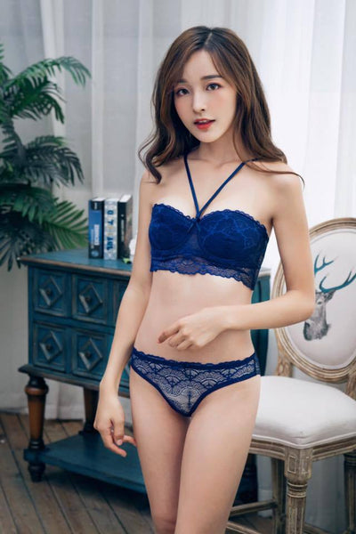 Bridal Bra Panty Set - Underwired Blue Single Padded Bra