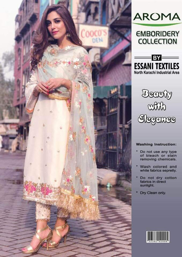 Aroma Chiffon Dresses - Embroidered Net Dupatta - Replica - Unstitched