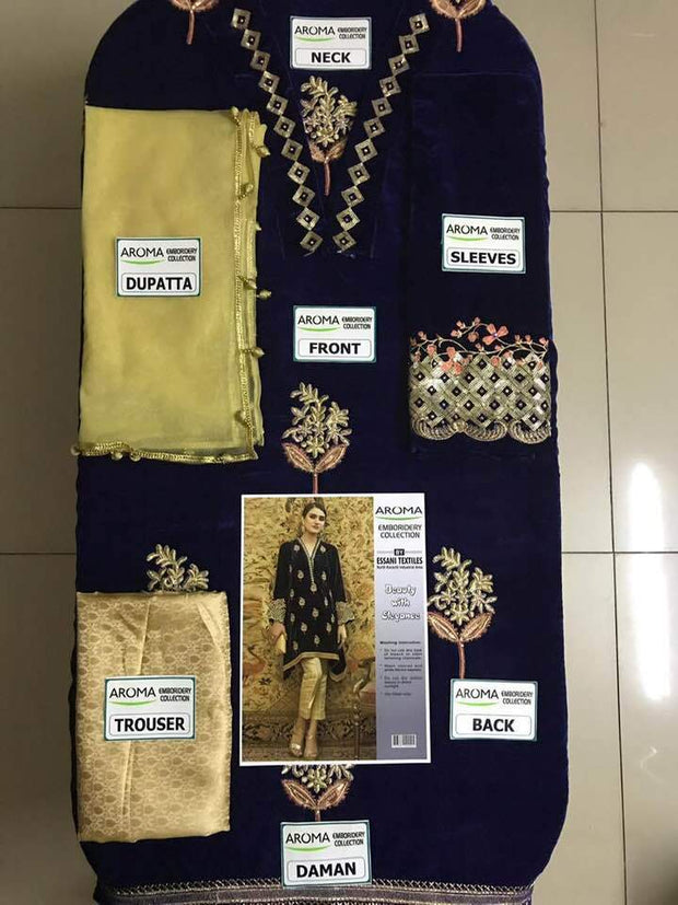 Aroma Velvet Dresses - Embroidered Net Dupatta - Replica - Unstitched