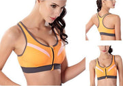 Ladies Sports Bra - Yoga Bra - Orange Zipper Sports Bra - Padded Gym Bra