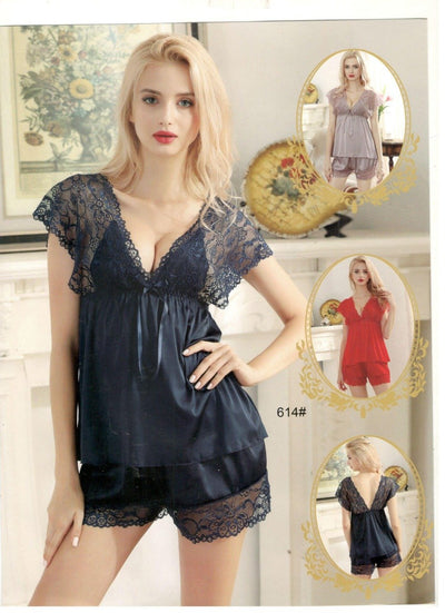 2 Pcs Sexy Short Nighty -Black