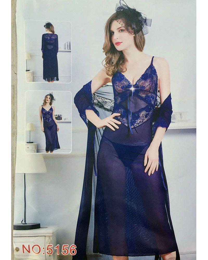 2 Pcs See Through Long Nighty With Robe - 5156 - Nighty - diKHAWA Online Shopping in Pakistan