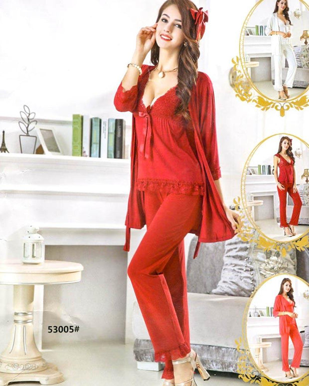 3 Pcs Slik Ladies Nightwear - 53005
