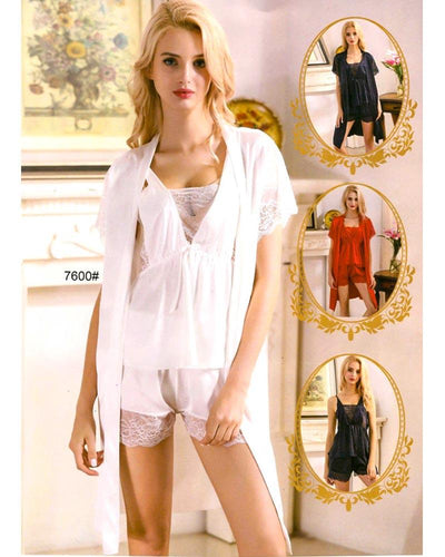 Buy 3 Pcs Sexy Slik Short Nighty With Gown - 7600 Online in Karachi, Lahore, Islamabad, Pakistan, Rs.2250.00, Ladies Nighty Sets Online Shopping in Pakistan, Sexy Nighty, best Nightwear Brands in pakistan, best Nighty Brands in pakistan, Brand_Nighty Shop, Branded Nightwear, branded nighty, Bridal Nighty, Clothing, Collection_Sexy, Colour_Black, Colour_Grey, Colour_Maroon, Colour_Navy Blue, Colour_Red, Colour_White, Content_Non Family, fancy nighty, Gender_Women, Honeymoon Nighty, imported nighty, Lace Nighty, Ladies Nightwear, ladies Nightwear pakistan, Ladies Nighty, ladies undergarment pakistan, Lingerie & Nightwear, Material_Net, net nighty, Nightwear, Nightw, Online Shopping in Pakistan - NIGHTYnight