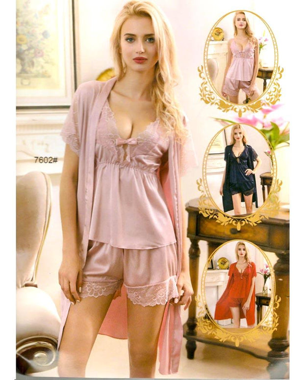 Pcs Sexy Slik Short Nighty With Gown - 7602
