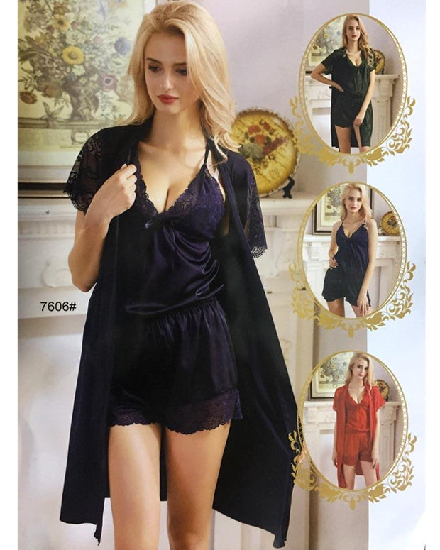 3 Pcs Sexy Slik Short Nighty With Gown - 7606