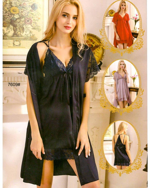 3 Pcs Sexy Slik Short Nighty With Gown - 7609