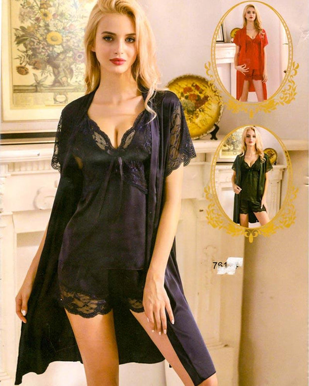 3 Pcs Sexy Slik Short Nighty With Gown - 7611