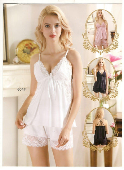 2 Pcs Sexy Short Nighty - White