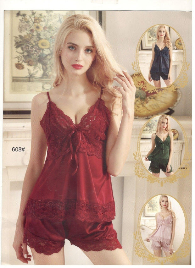 2 Pcs Sexy Short Nighty - Maroon