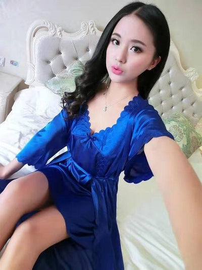 2 Pcs Satin Short Night Dress & Full Sleeves Robe - Navy Blue