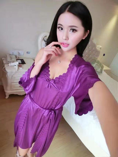2 Pcs Satin Short Night Dress & Full Sleeves Robe - White