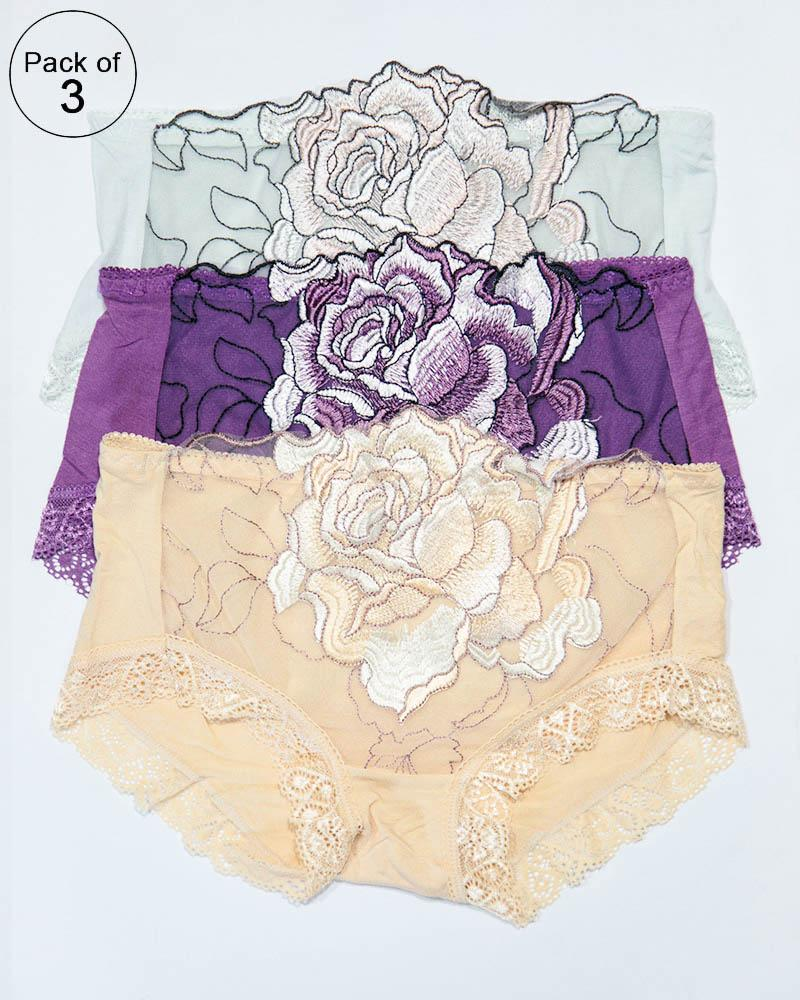 2e0adb7ea Pack of 3 Embroidered Lace Panty – AF-104 – Mix Colors - Online ...