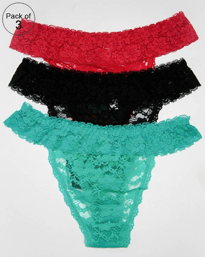 Pack of 3 Womens Bikini Underwear Breathable Cotton Panties – AF-108 – Mix Colors